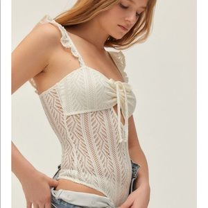 Urban outfitters white crochet bodysuit NWT